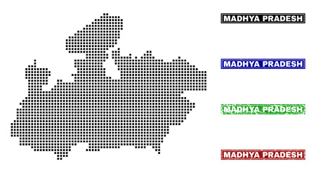 Dot vector abstract Madhya Pradesh State map and isolated clean black, grunge red, blue, green stamp seals.