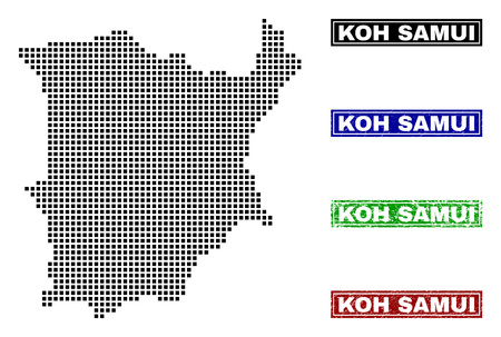 Vector dot abstract Koh Samui map and isolated clean black, grunge red, blue, green stamp seals. Koh Samui map name inside rough framed rectangles and with grunge rubber texture.