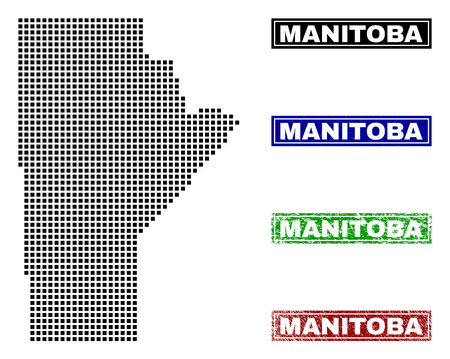Vector dot abstract Manitoba Province map and isolated clean black, grunge red, blue, green stamp seals. Manitoba Province map name inside draft framed rectangles and with retro rubber texture. Illustration