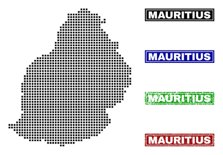 Vector dot abstract Mauritius Island map and isolated clean black, grunge red, blue, green stamp seals. Mauritius Island map caption inside draft framed rectangles and with grunge rubber texture.