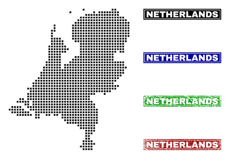 Vector dot abstract Netherlands map and isolated clean black, grunge red, blue, green stamp seals. Netherlands map title inside draft framed rectangles and with grunge rubber texture. Illustration