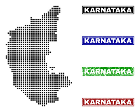 Vector dot abstract Karnataka State map and isolated clean black, grunge red, blue, green stamp seals. Karnataka State map tag inside rough framed rectangles and with grunge rubber texture. Stock Vector - 126758045