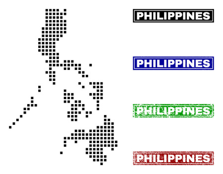 Dot vector abstracted Philippines map and isolated clean black, grunge red, blue, green stamp seals. Philippines map name inside rough framed rectangles and with grunge rubber texture. Illustration