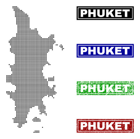 Dot vector abstract Phuket map and isolated clean black, grunge red, blue, green stamp seals. Phuket map tag inside draft framed rectangles and with corroded rubber texture.