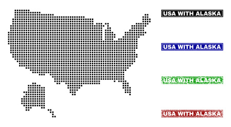 Dot vector abstracted USA with Alaska map and isolated clean black, grunge red, blue, green stamp seals. USA with Alaska map label inside rough framed rectangles and with grunge rubber texture. Illustration
