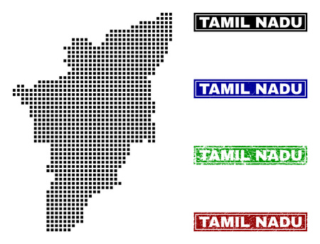 Dot vector abstracted Tamil Nadu State map and isolated clean black, grunge red, blue, green stamp seals. Tamil Nadu State map name inside rough framed rectangles and with grunge rubber texture.