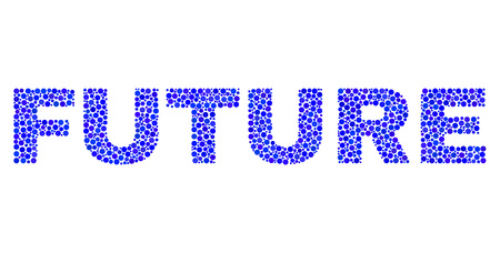 Dot vector Future text isolated on a white background. Future mosaic title of circle dots in various sizes.