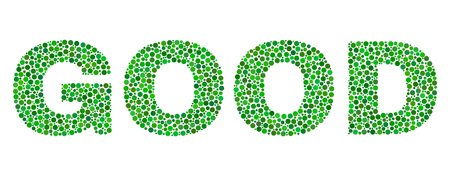 Vector dot Good text isolated on a white background. Good mosaic label of circle dots in various sizes.