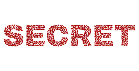 Vector dot Secret text isolated on a white background. Secret mosaic name of circle dots in various sizes. Illustration