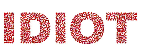 Vector dot Idiot text isolated on a white background. Idiot mosaic label of circle dots in various sizes. Illustration