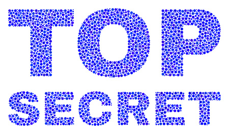 Dot vector Top Secret text isolated on a white background. Top Secret mosaic caption of circle dots in various sizes.