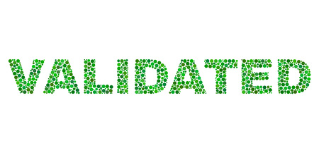 Dot vector Validated text isolated on a white background. Validated mosaic title of circle dots in various sizes.