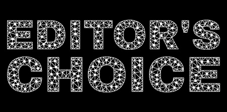 Mesh Editors Choice polygonal text isolated on a black background. Editors Choice label of wire frame build with lines and dots. Letters are triangulated and has white color.