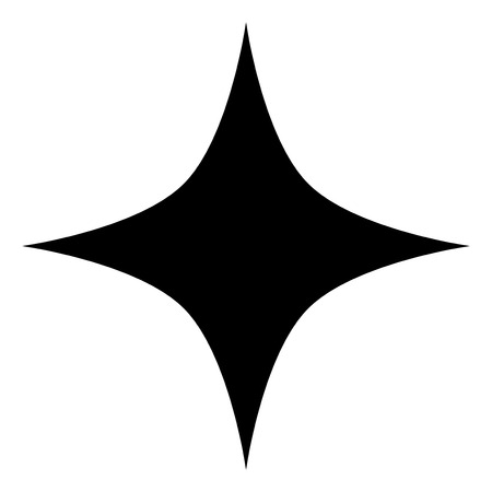 Black star raster icon on a white background. An isolated flat icon illustration of black star with nobody.