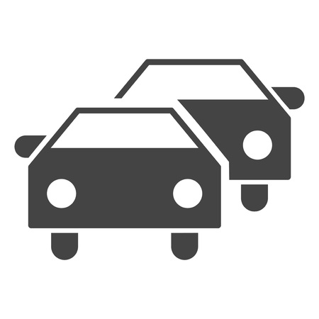 Car traffic raster icon on a white background. An isolated flat icon illustration of car traffic with nobody. Banque d'images - 114045845