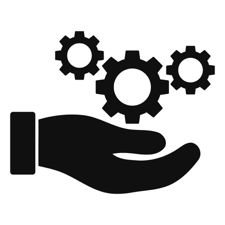 Cogs service hand raster illustration on a white background. An isolated flat icon illustration of cogs service hand with nobody.