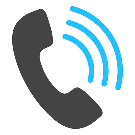 Phone call raster icon on a white background. An isolated flat icon illustration of phone call with nobody.