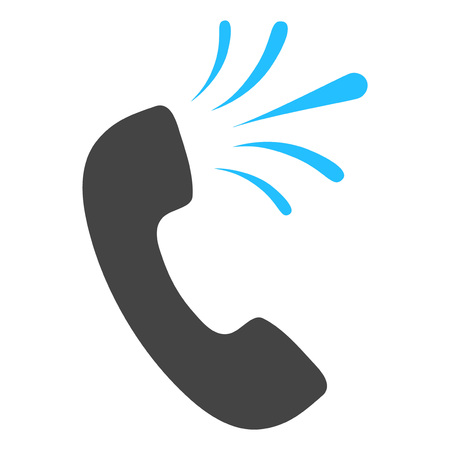 Phone signal raster icon on a white background. An isolated flat icon illustration of phone signal with nobody.