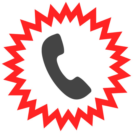 Telephone alert vector icon on a white background. An isolated flat icon illustration of telephone alert with nobody.