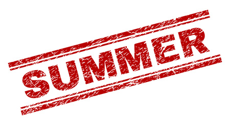 SUMMER seal print with grunge texture. Red vector rubber print of SUMMER text with dust texture. Text title is placed between double parallel lines.