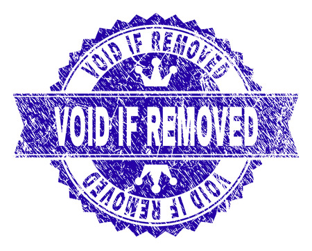 VOID IF REMOVED rosette seal watermark with distress texture. Designed with round rosette, ribbon and small crowns. Blue vector rubber watermark of VOID IF REMOVED text with unclean texture.
