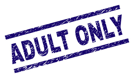 ADULT ONLY seal imprint with grunge style. Blue vector rubber print of ADULT ONLY text with scratched texture. Text label is placed between parallel lines. Stock Illustratie
