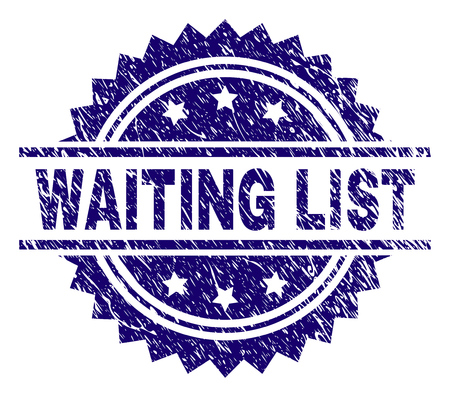 WAITING LIST stamp seal watermark with distress style. Blue vector rubber print of WAITING LIST tag with unclean texture.