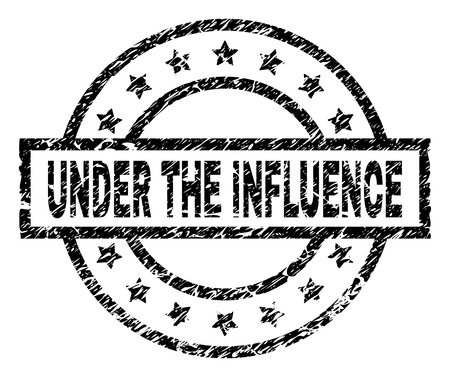 UNDER THE INFLUENCE stamp seal watermark with distress style. Designed with rectangle, circles and stars. Black vector rubber print of UNDER THE INFLUENCE tag with unclean texture.