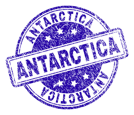 ANTARCTICA stamp seal watermark with distress texture. Designed with rounded rectangles and circles. Blue vector rubber print of ANTARCTICA title with retro texture.