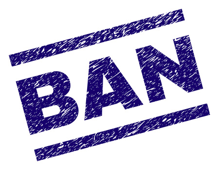 BAN seal print with grunge style. Blue vector rubber print of BAN text with unclean texture. Text caption is placed between parallel lines.