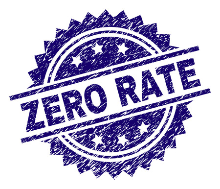 ZERO RATE stamp seal watermark with distress style. Blue vector rubber print of ZERO RATE tag with dust texture.