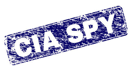 CIA SPY stamp seal print with distress style. Seal shape is a rounded rectangle with frame. Blue vector rubber print of CIA SPY label with scratched texture.