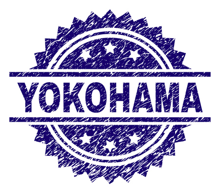 YOKOHAMA stamp seal watermark with distress style. Blue vector rubber print of YOKOHAMA label with retro texture. Illustration