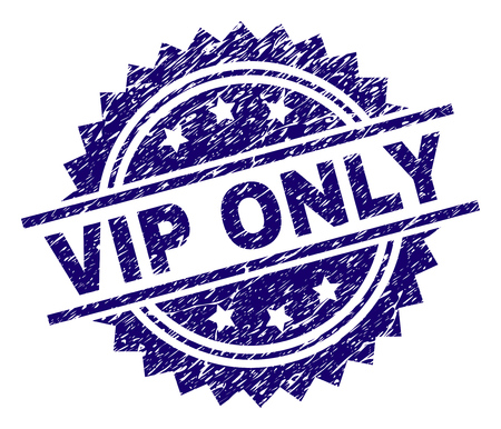 VIP ONLY stamp seal watermark with distress style. Blue vector rubber print of VIP ONLY text with grunge texture.