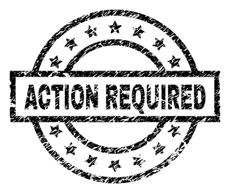 ACTION REQUIRED stamp seal watermark with distress style. Designed with rectangle, circles and stars. Black vector rubber print of ACTION REQUIRED label with dirty texture.