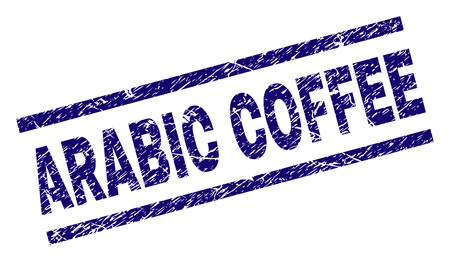 ARABIC COFFEE seal imprint with grunge style. Blue vector rubber print of ARABIC COFFEE text with corroded texture. Text label is placed between parallel lines.