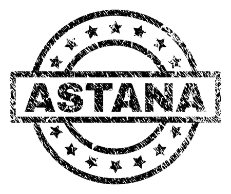 ASTANA stamp seal watermark with distress style. Designed with rectangle, circles and stars. Black vector rubber print of ASTANA text with grunge texture.