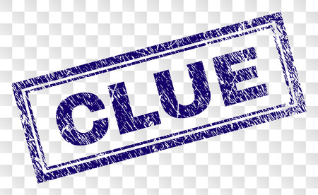 CLUE stamp seal imprint with rubber print style and double framed rectangle shape. Stamp is placed on a transparent background. Blue vector rubber print of CLUE caption with scratched texture.