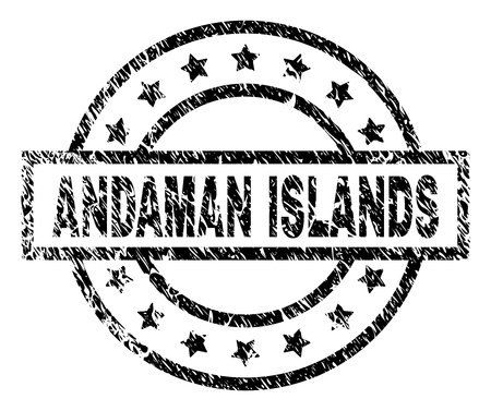ANDAMAN ISLANDS stamp seal watermark with distress style. Designed with rectangle, circles and stars. Black vector rubber print of ANDAMAN ISLANDS text with unclean texture.