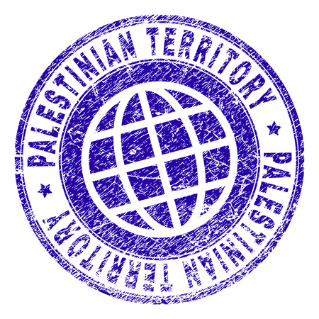 PALESTINIAN TERRITORY stamp imprint with distress texture. Blue vector rubber seal imprint of PALESTINIAN TERRITORY title with unclean texture. Seal has words placed by circle and globe symbol. Ilustração
