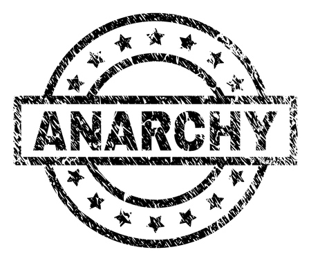ANARCHY stamp seal watermark with distress style. Designed with rectangle, circles and stars. Black vector rubber print of ANARCHY label with unclean texture.