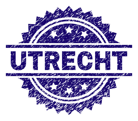 UTRECHT stamp seal watermark with distress style. Blue vector rubber print of UTRECHT text with dust texture.