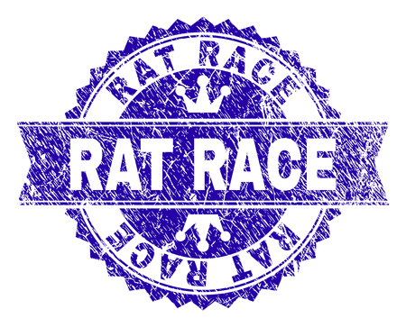 RAT RACE rosette stamp seal imprint with grunge style. Designed with round rosette, ribbon and small crowns. Blue vector rubber print of RAT RACE caption with retro style.