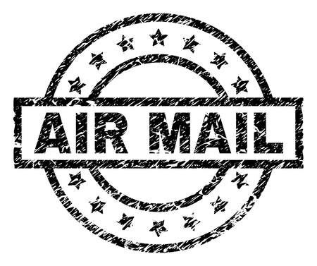 AIR MAIL stamp seal watermark with distress style. Designed with rectangle, circles and stars. Black vector rubber print of AIR MAIL text with scratched texture. Vector Illustration
