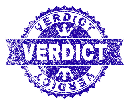 VERDICT rosette stamp seal watermark with grunge effect. Designed with round rosette, ribbon and small crowns. Blue vector rubber watermark of VERDICT caption with grunge texture.