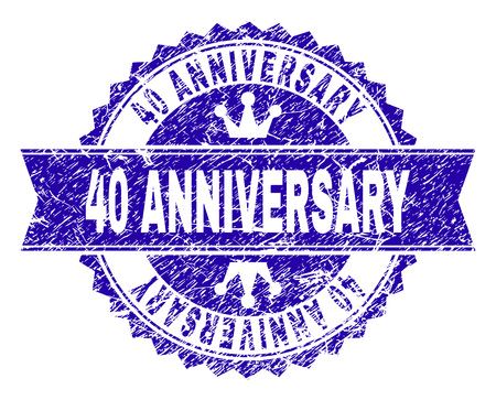 40 ANNIVERSARY rosette seal watermark with distress style. Designed with round rosette, ribbon and small crowns. Blue vector rubber watermark of 40 ANNIVERSARY caption with grunge style.