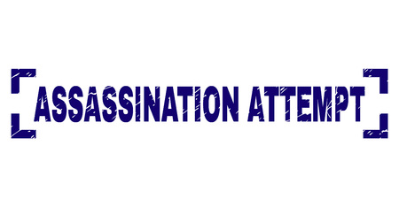 ASSASSINATION ATTEMPT label seal print with corroded texture. Text caption is placed between corners. Blue vector rubber print of ASSASSINATION ATTEMPT with corroded texture.
