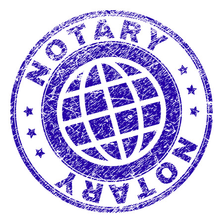 NOTARY stamp imprint with grunge texture. Blue vector rubber seal imprint of NOTARY label with scratched texture. Seal has words placed by circle and globe symbol. Stock Illustratie