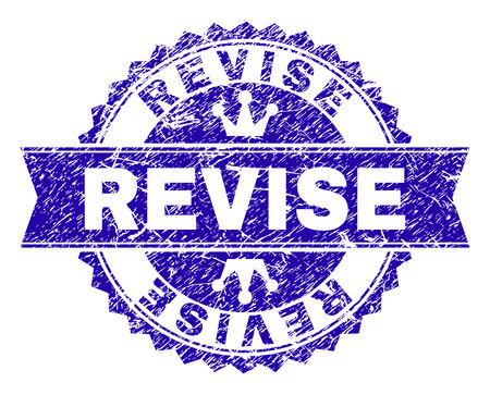 REVISE rosette seal watermark with grunge style. Designed with round rosette, ribbon and small crowns. Blue vector rubber watermark of REVISE tag with grunge style.