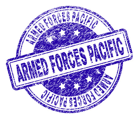 ARMED FORCES PACIFIC stamp seal imprint with distress texture. Designed with rounded rectangles and circles. Blue vector rubber print of ARMED FORCES PACIFIC label with scratched texture.